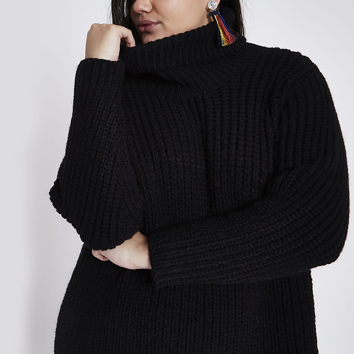 245685d11ba Plus black roll neck jumper dress