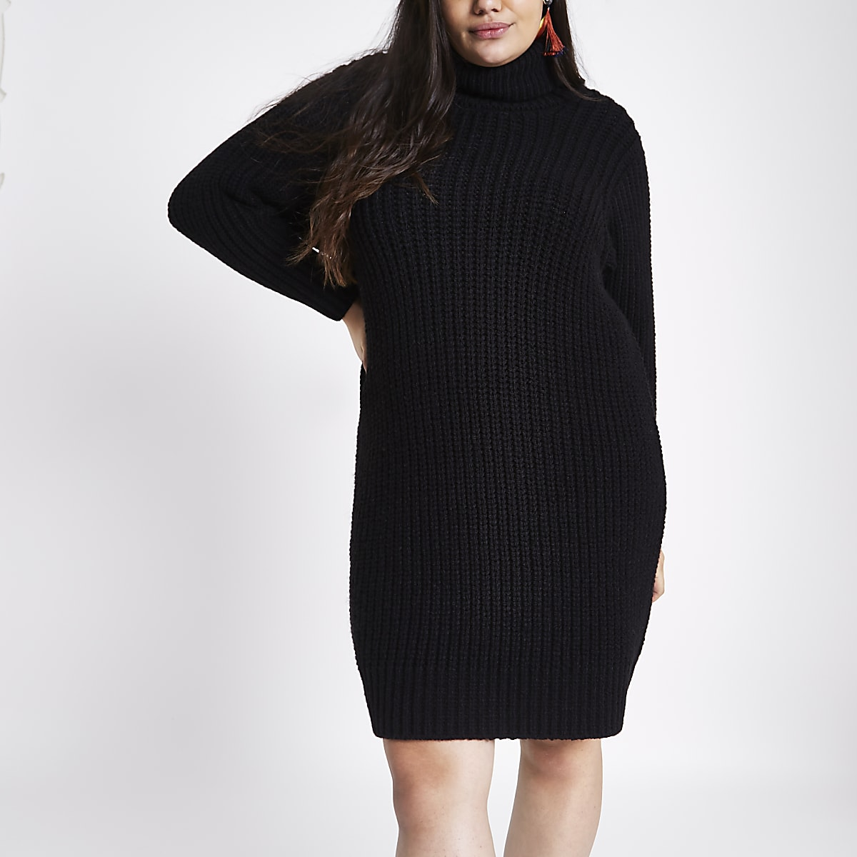 Plus black roll neck sweater dress - Swing Dresses - Dresses - women