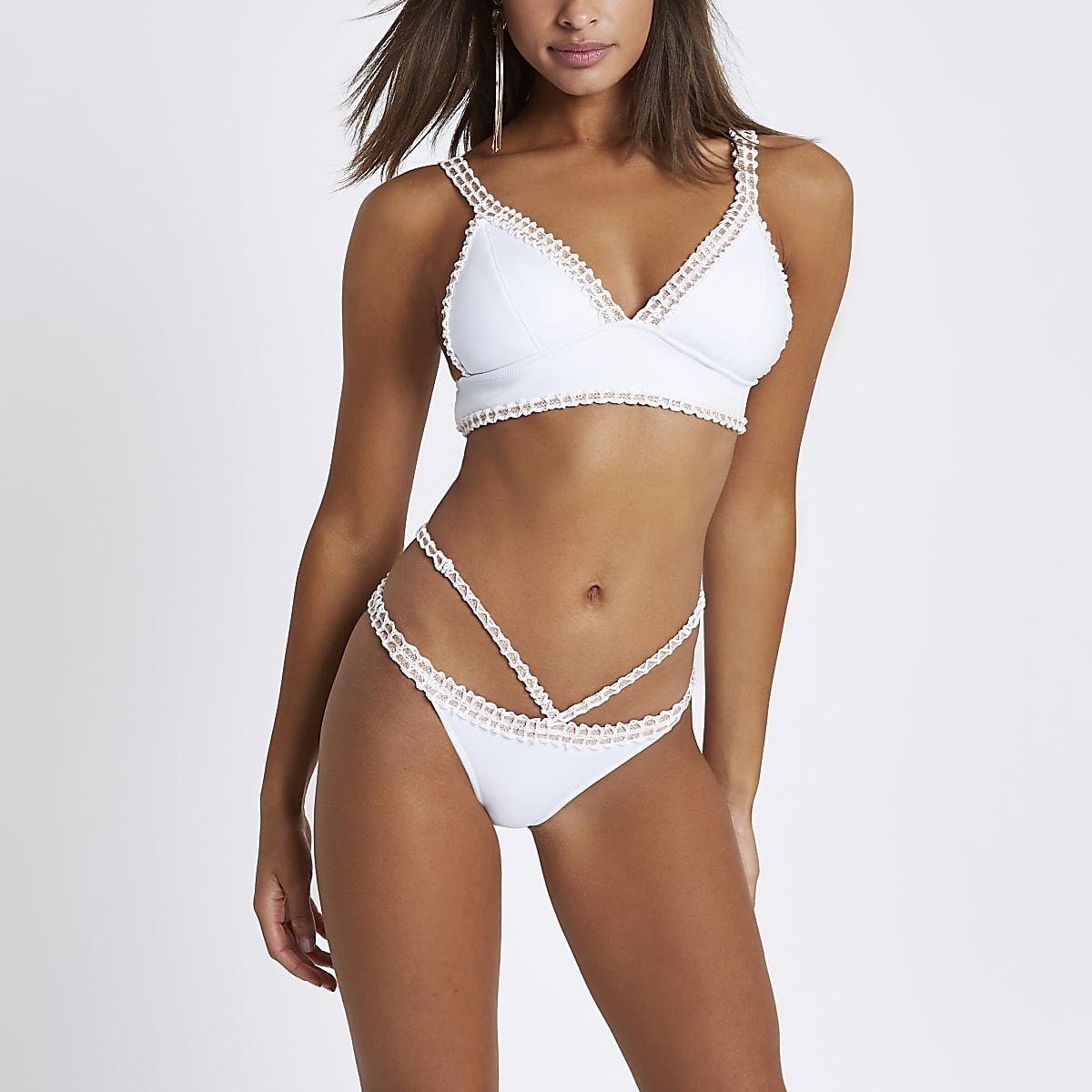 many styles undefeated x first look White strappy crochet high leg bikini bottoms