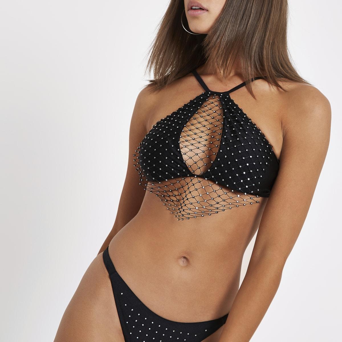 Haut de bikini noir à col montant avec résille orné de strass