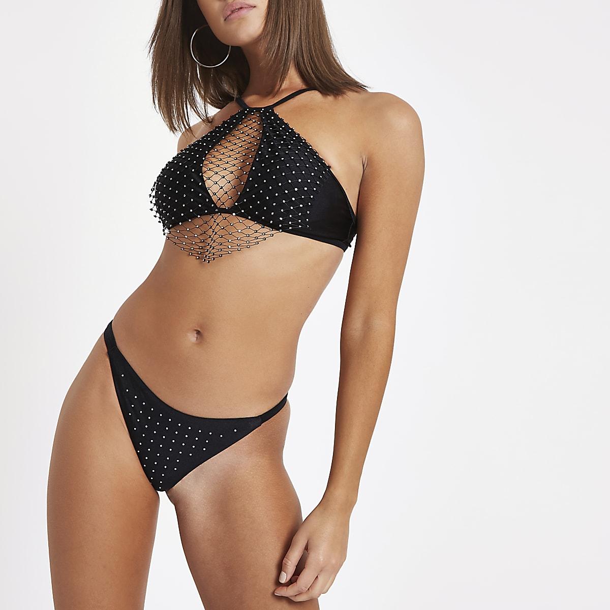 Zwarte bikini-string met stras