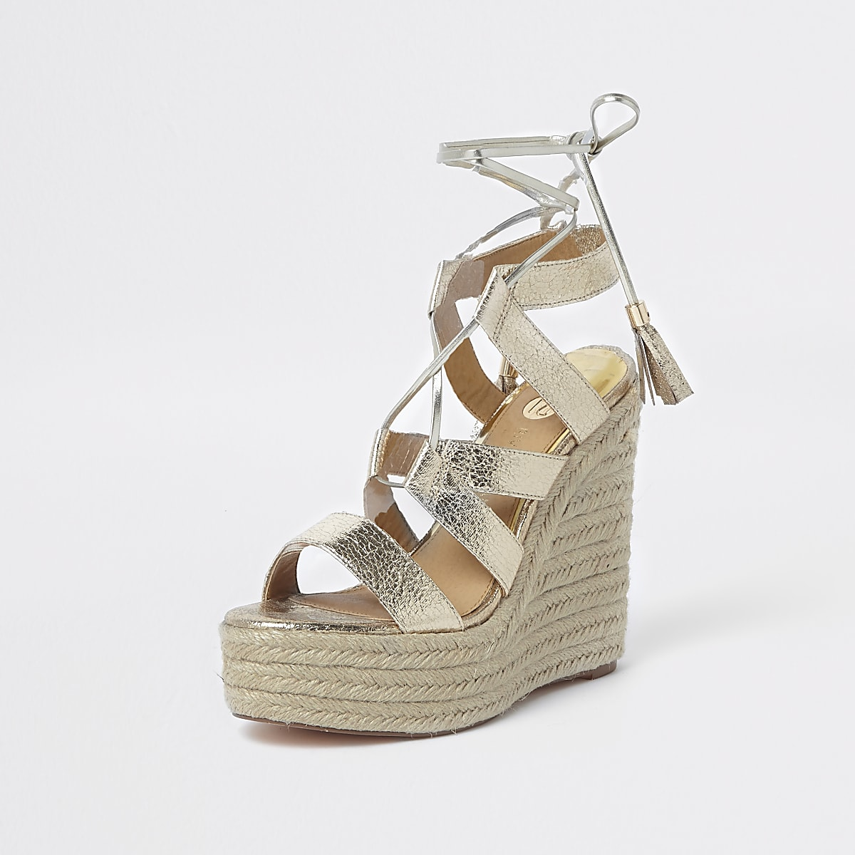 aac089f12ea4 Gold metallic tie-up espadrille wedges - Sandals - Shoes   Boots - women
