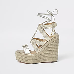 Chaussures compensées façon espadrilles doré métallisé à lacets