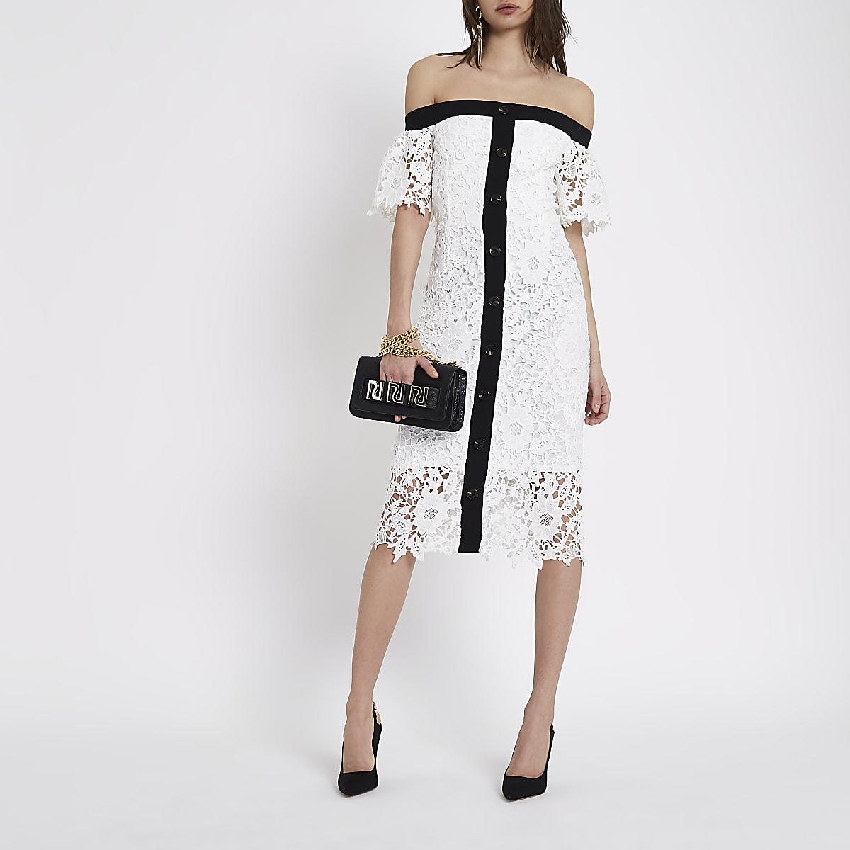 bf2816ef6a2b White bardot lace midi dress - Bodycon Dresses - Dresses - women