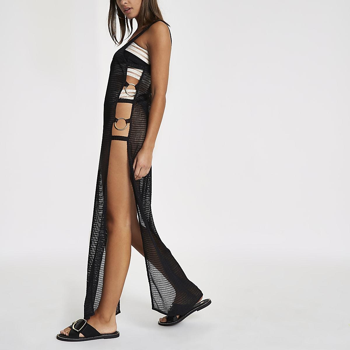Black mesh plunge ring side beach dress