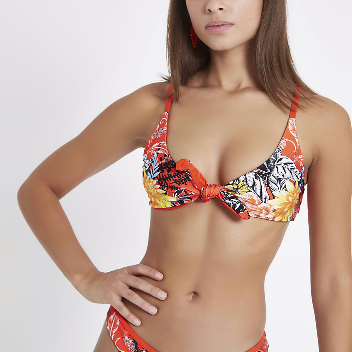 Red floral reversible knot front bikini top