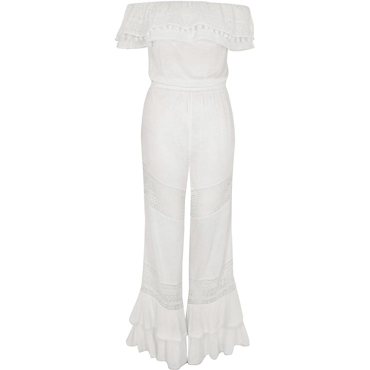 f675243d7b White jersey bardot frill jumpsuit - Kaftans & Beach Cover-Ups ...