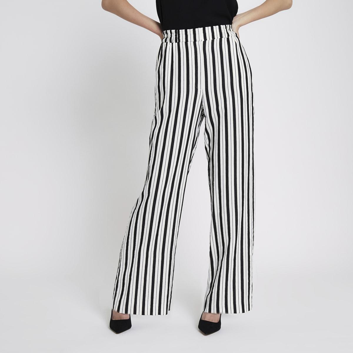 White stripe wide leg trousers