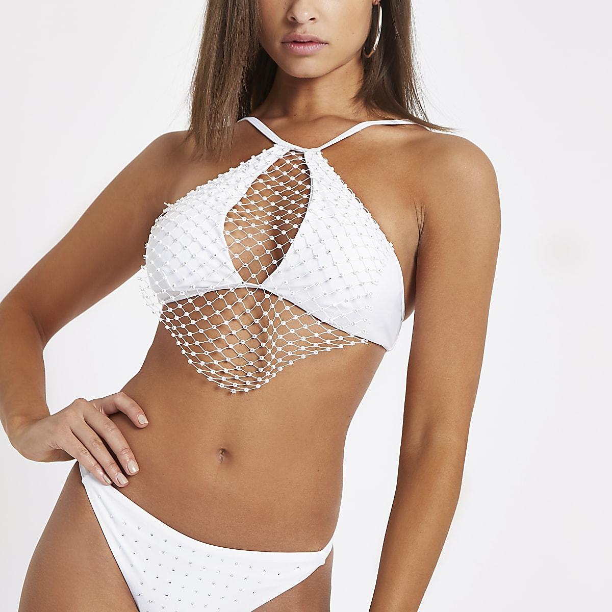 White rhinestone mesh high apex bikini top