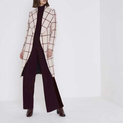 Blush pink check tie waist robe coat