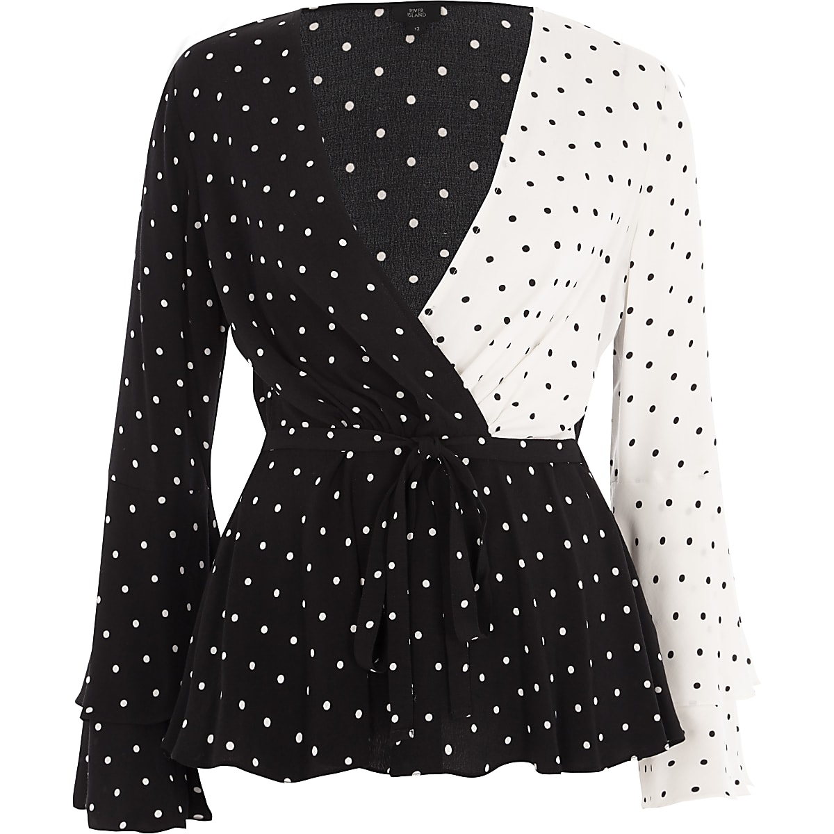 37faabb85f7276 Black block polka dot wrap tie waist blouse - Blouses - Tops - women
