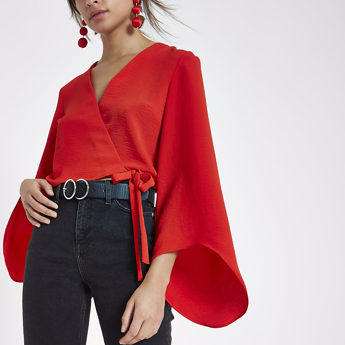 99f7f4dc9 Red wrap long flare sleeve crop top - Crop Tops / Bralets - Tops - women
