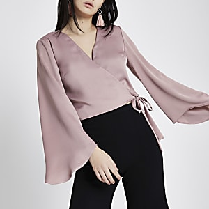 Pink wrap long flare sleeve crop top