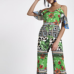 Green cold shoulder mixed print jumpsuit