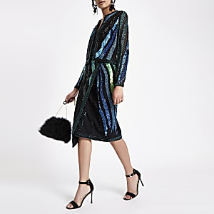 Green sequin embellished trophy jacket