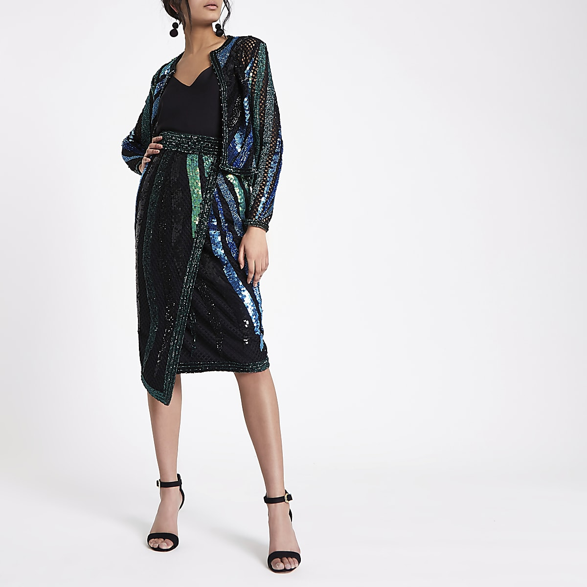 Green sequin embellished wrap midi skirt