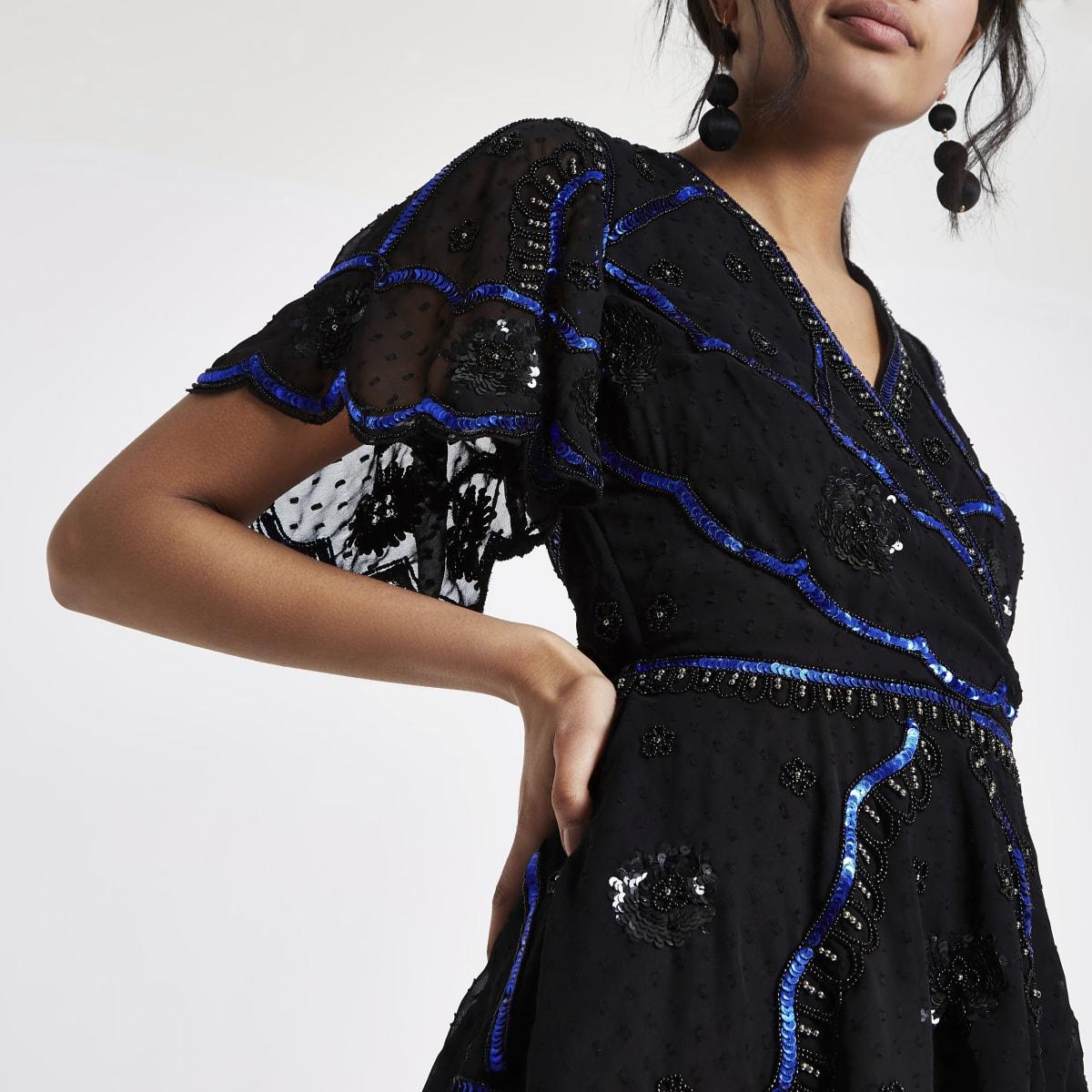 Black embellished wrap top