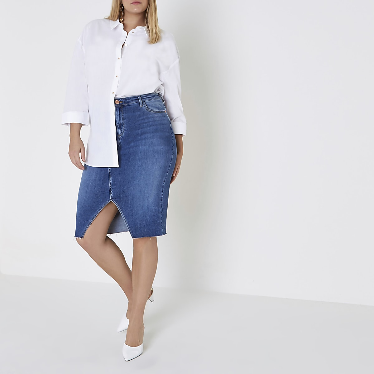 Plus mid blue split front denim pencil skirt