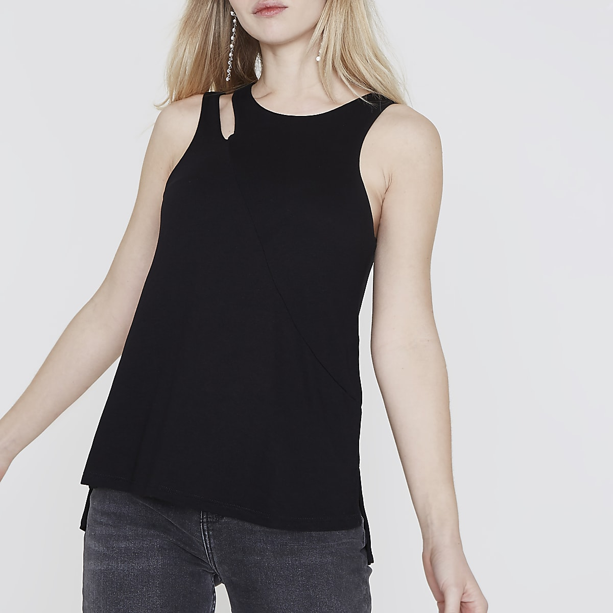 Black cut out shoulder sleeveless top