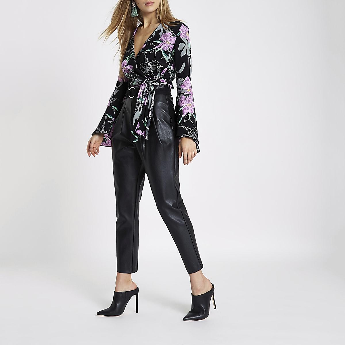 c953444c91ee0 Black floral wrap bell sleeve crop top - Crop Tops   Bralets - Tops ...