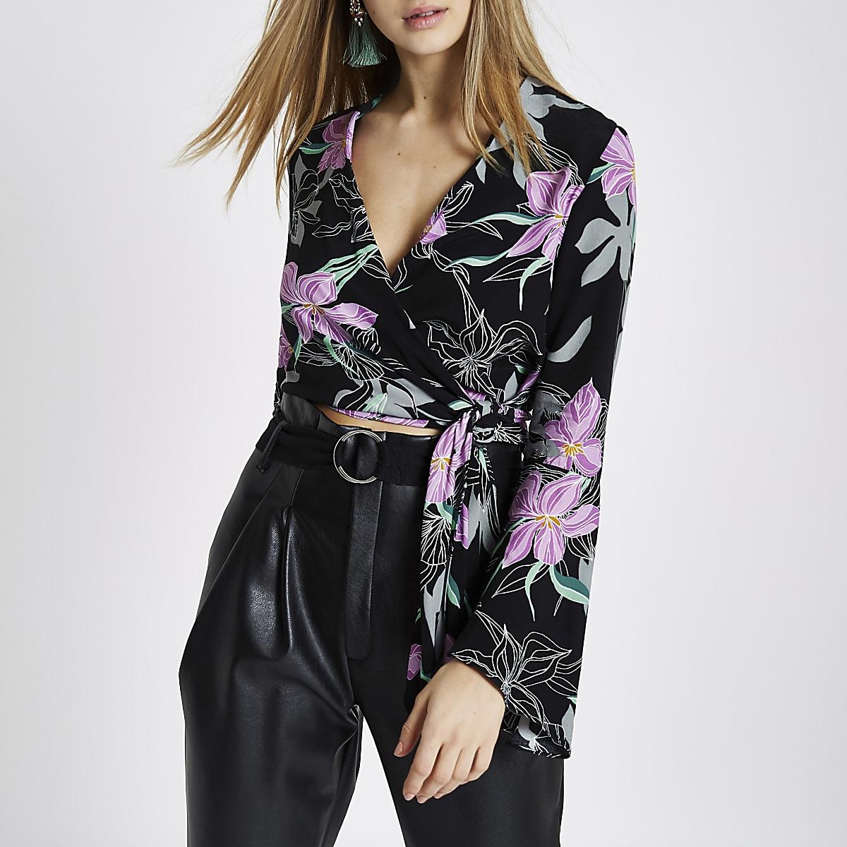 Black floral wrap bell sleeve crop top