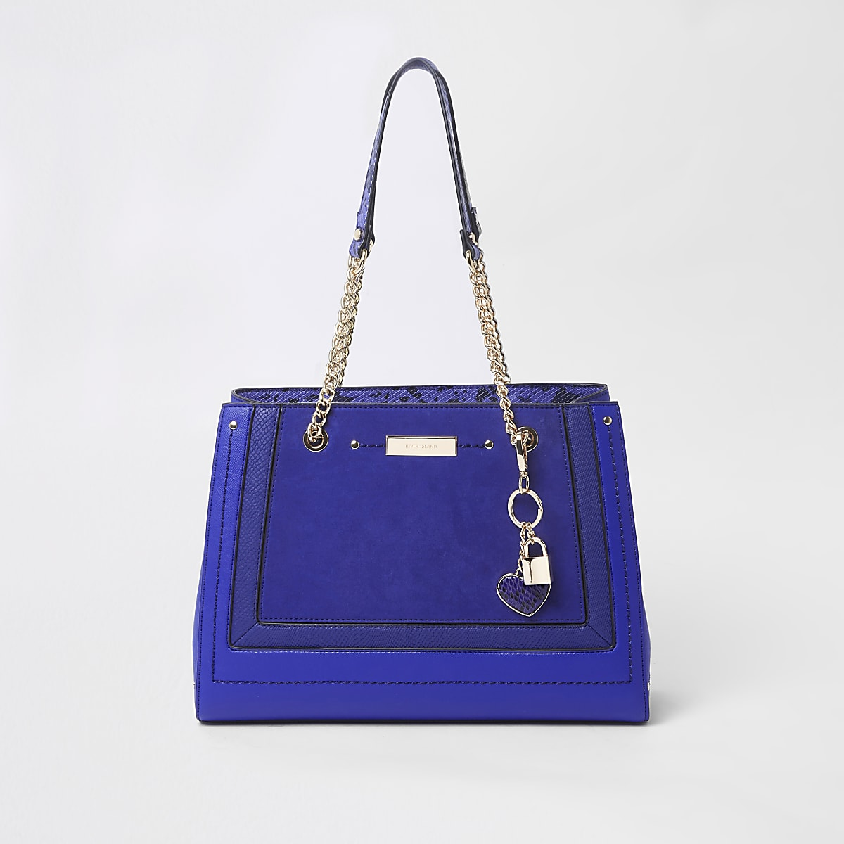 Blue panel charm structured chain tote bag