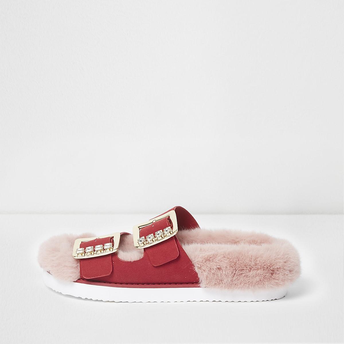 Pink faux fur rhinestone buckle sandals