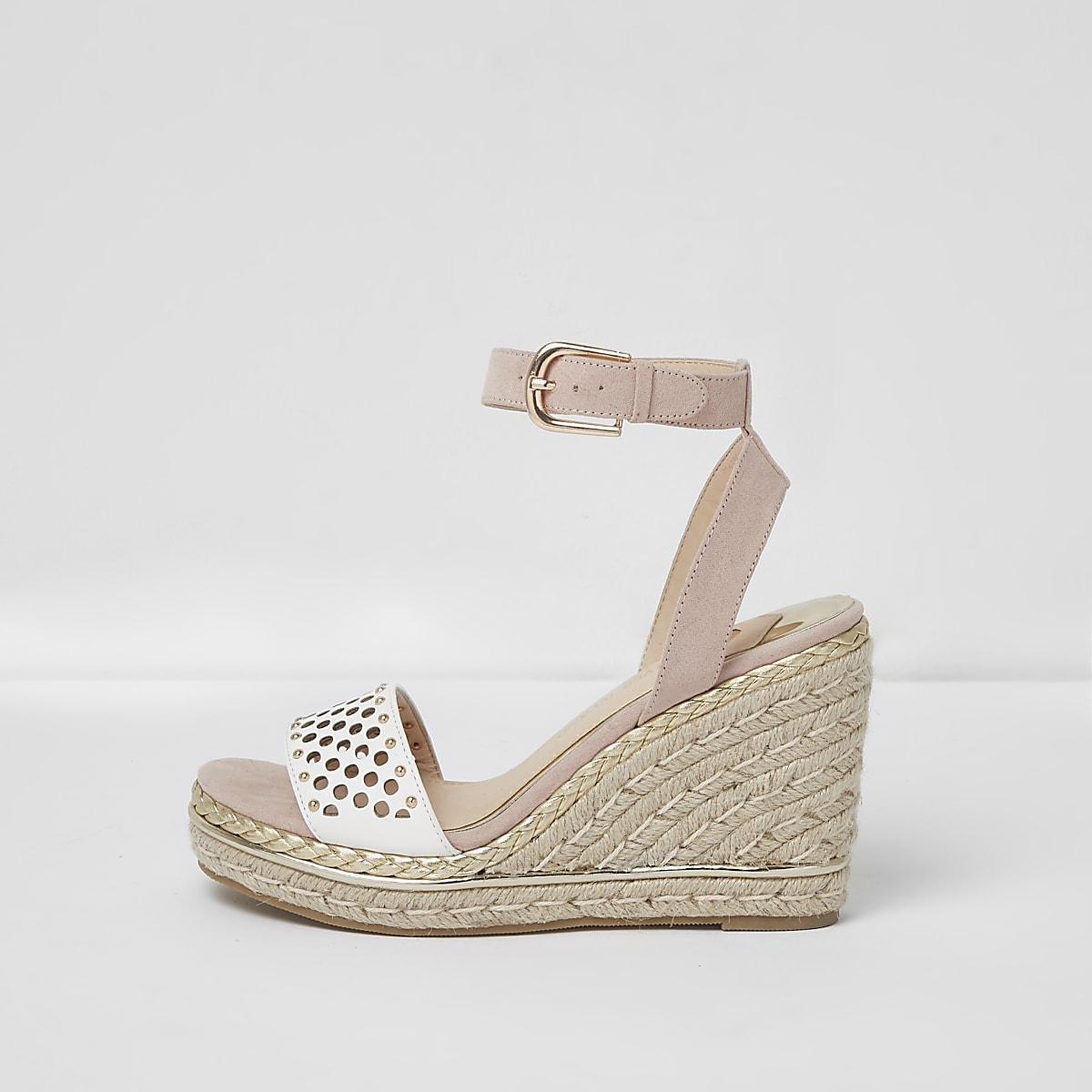 af3ada355 Pink laser cut studded espadrille wedges - Shoes - Shoes & Boots - women