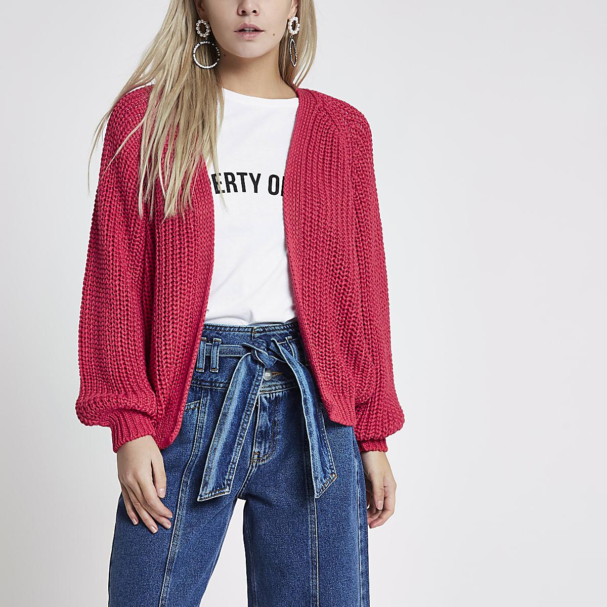 Petite dark pink tape yarn knit cardigan