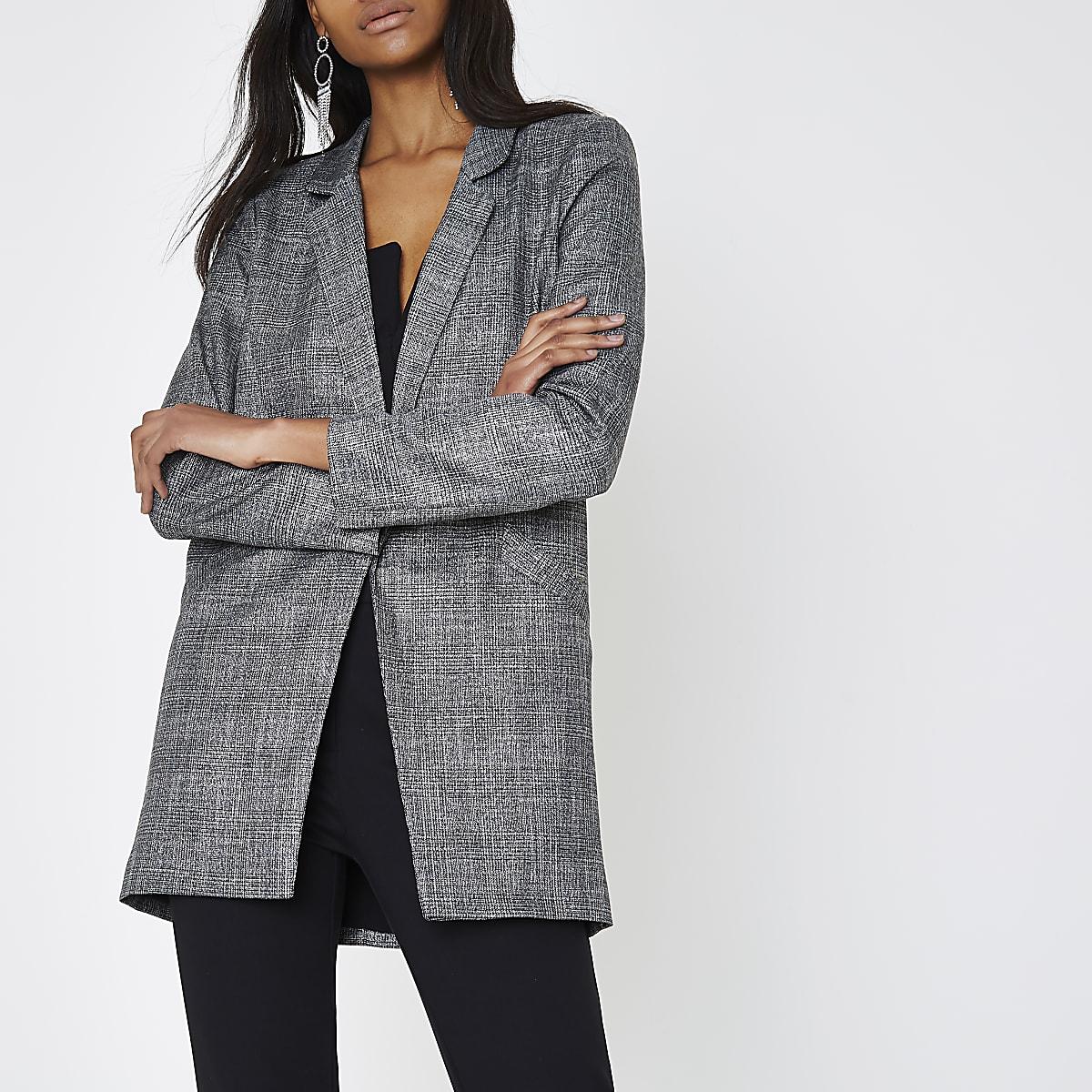 Grey glitter check blazer