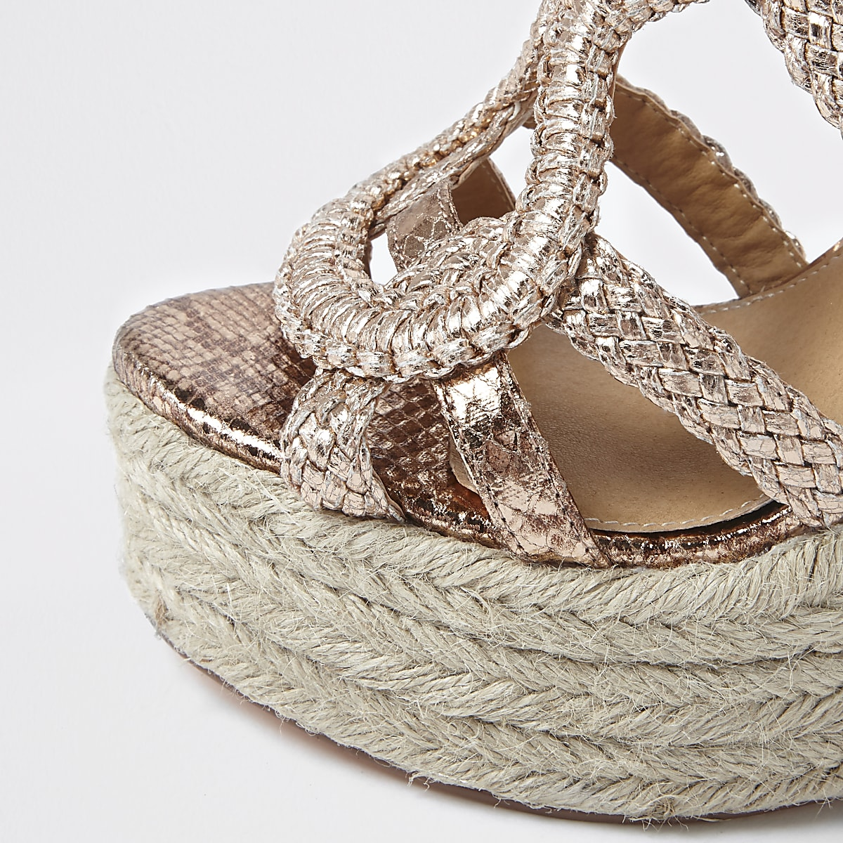 874462f64a Rose gold metallic braided espadrille wedges - Shoes - Shoes & Boots ...