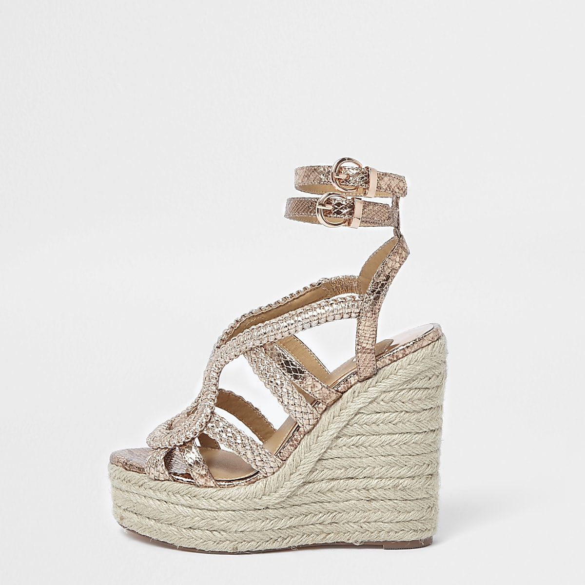 6e49a29d412 Rose gold metallic braided espadrille wedges - Shoes - Shoes   Boots - women