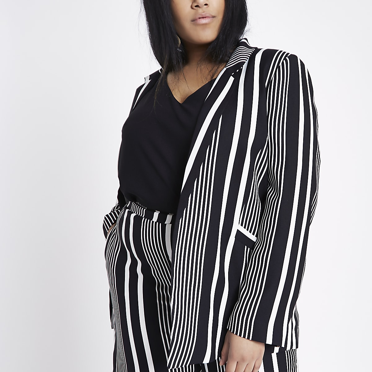 Plus black stripe shoulder pad blazer
