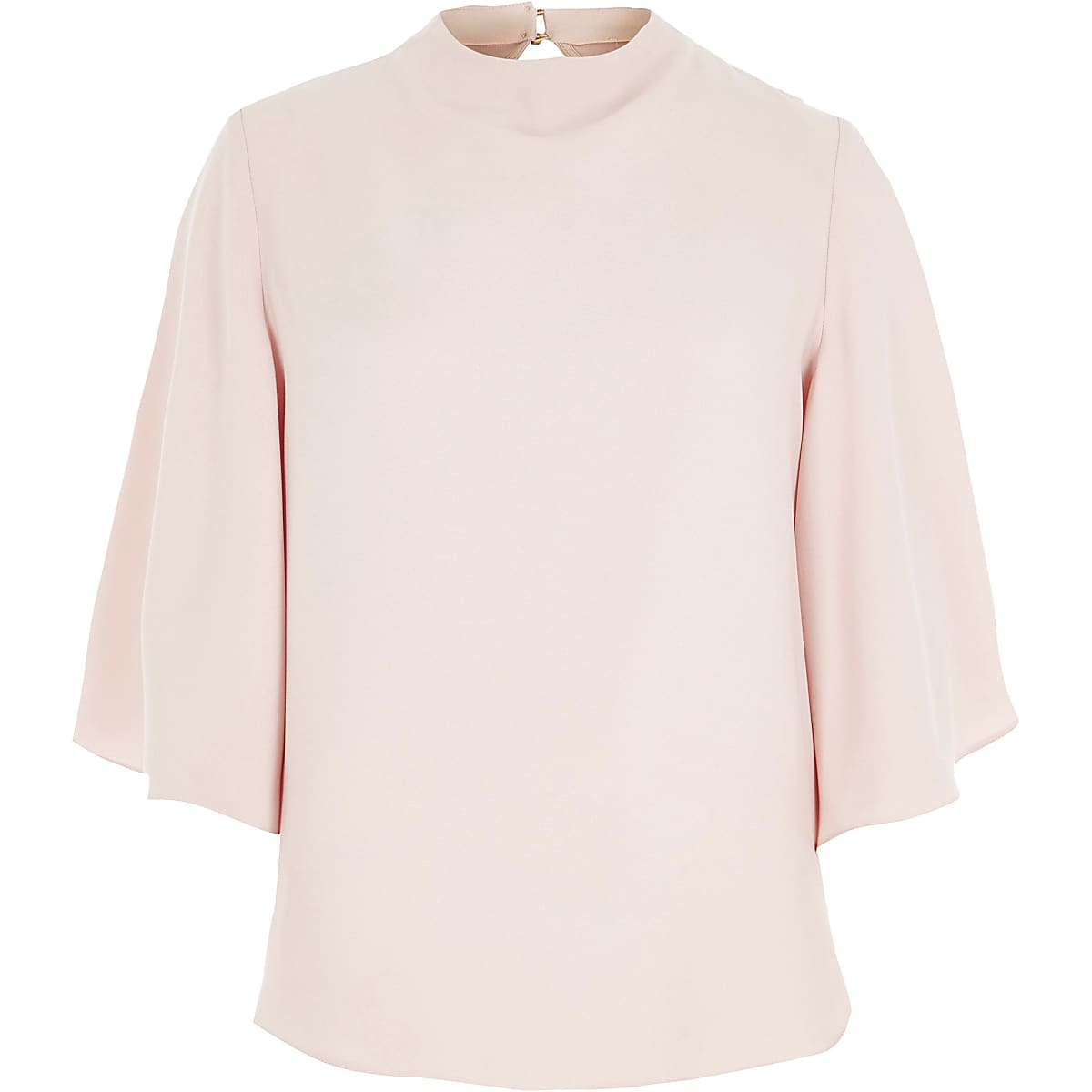 Light pink high neck cape sleeve top