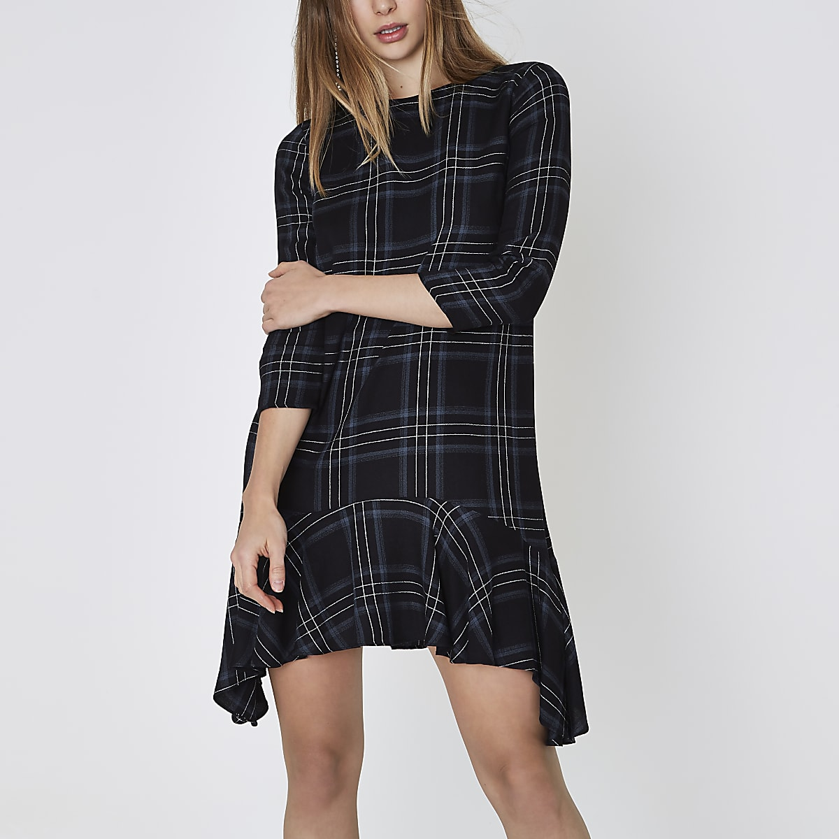 Blue check frill hem swing dress