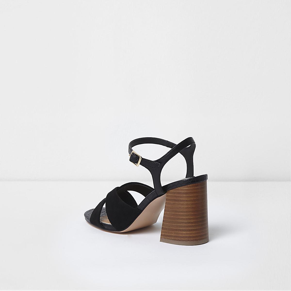 e5a43d8a496 Black wide fit cross strap block heel sandals - Sandals - Shoes   Boots -  women