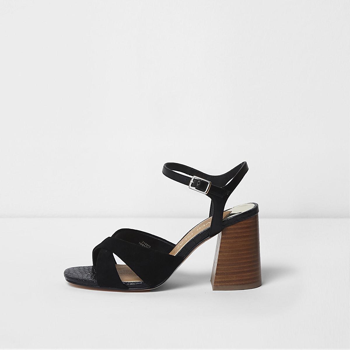 2baa73d075 Black wide fit cross strap block heel sandals - Sandals - Shoes & Boots -  women