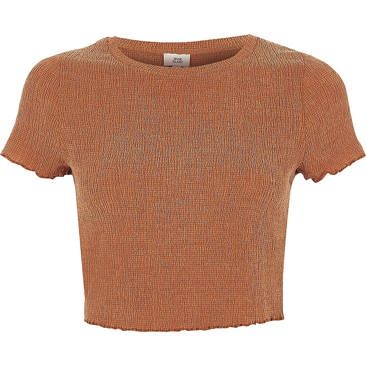 Orange lettuce frill cropped T-shirt