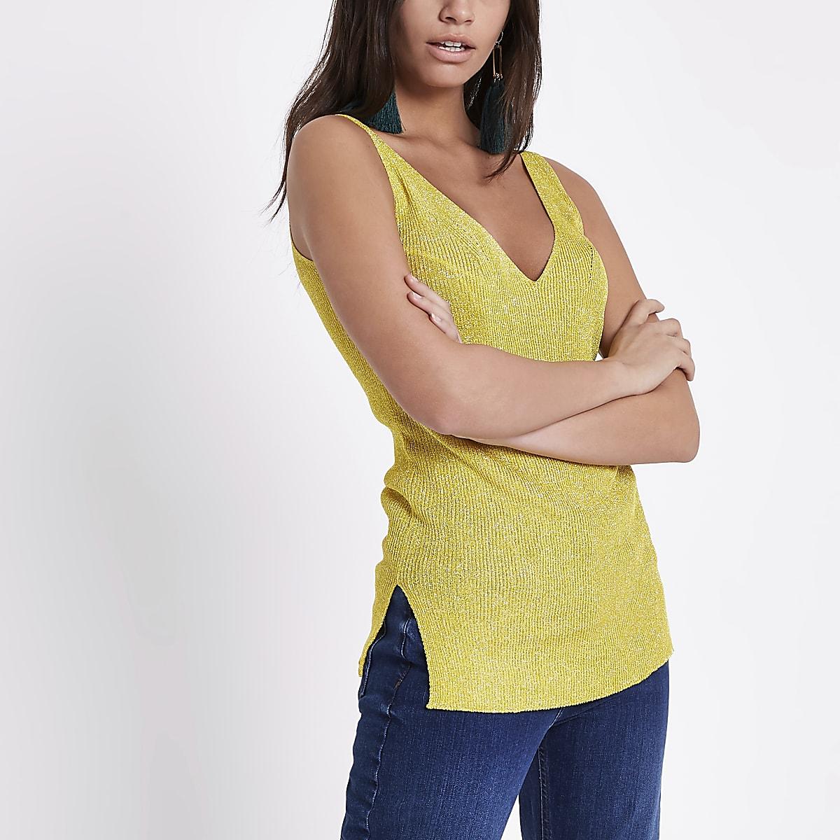 Yellow metallic stitch knit vest
