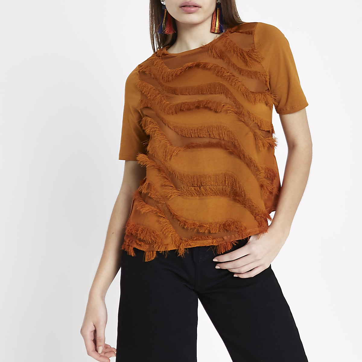 Tan fringe detail boxy T-shirt