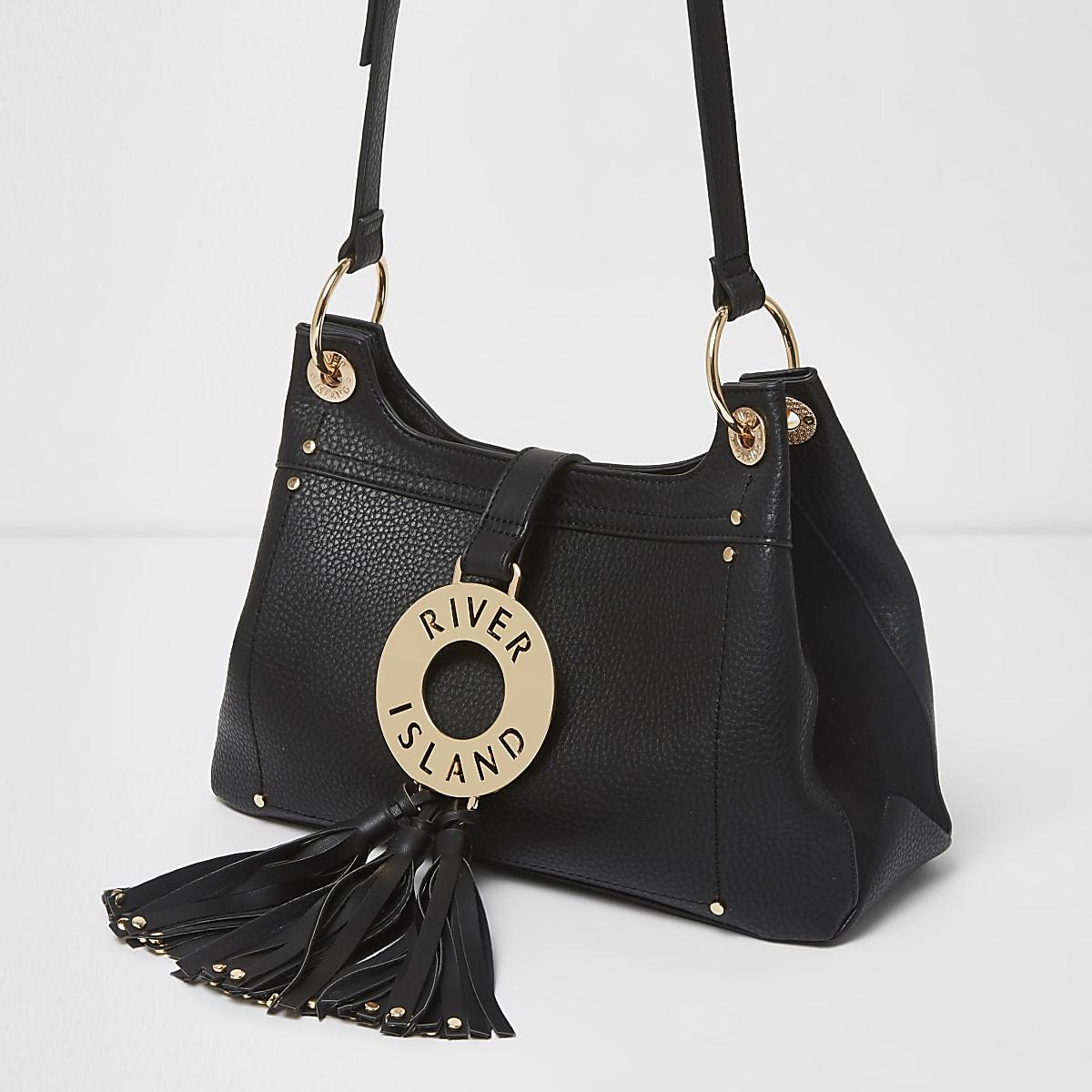 Black RI oversized ring tassel cross body bag
