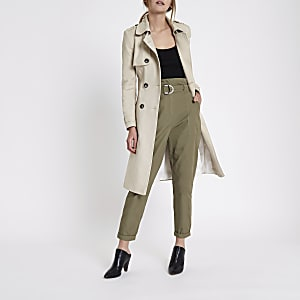 Khaki green paperbag tapered trousers