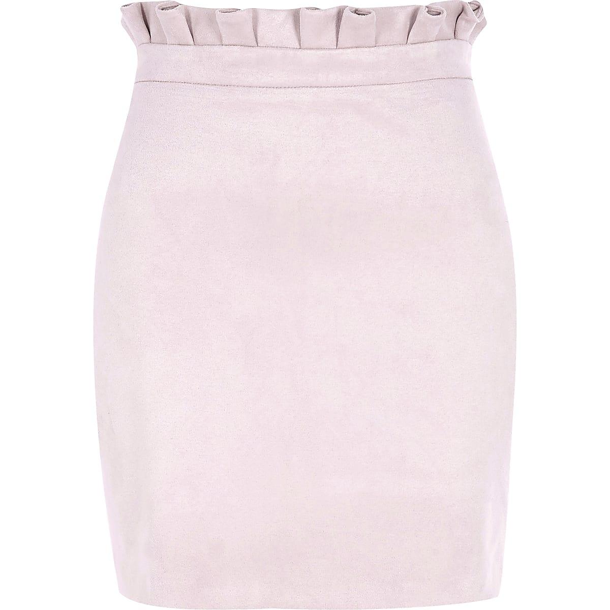 bdd341e6d Pink faux suede paperbag mini skirt - Mini Skirts - Skirts - women