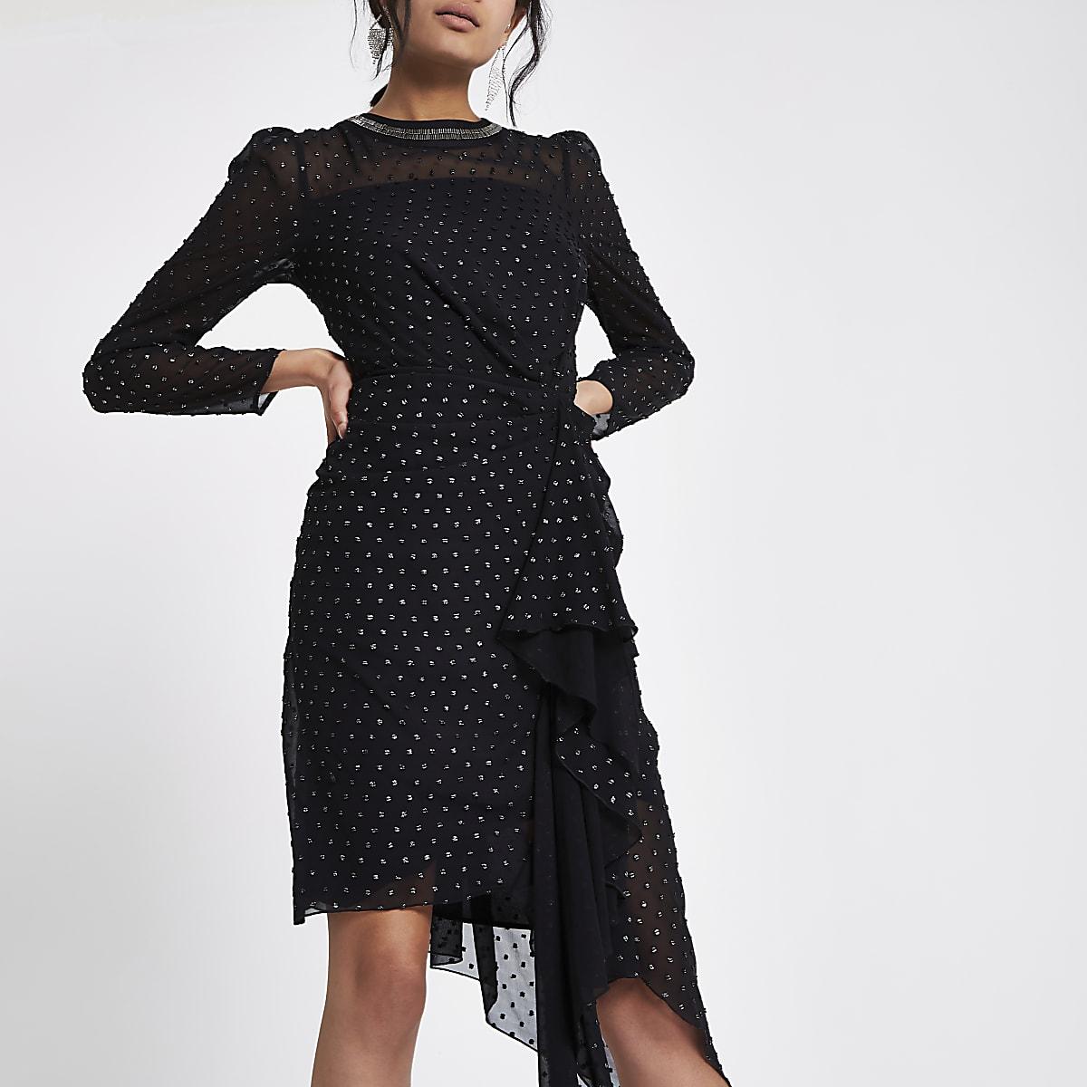 Zwart met zilverkleurige jurk met rimpeling voor