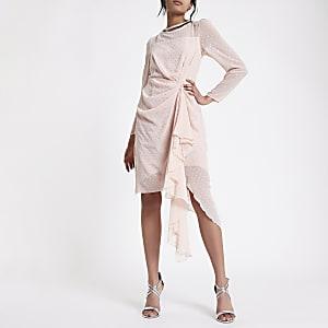 Pink flocked spot embellished dress