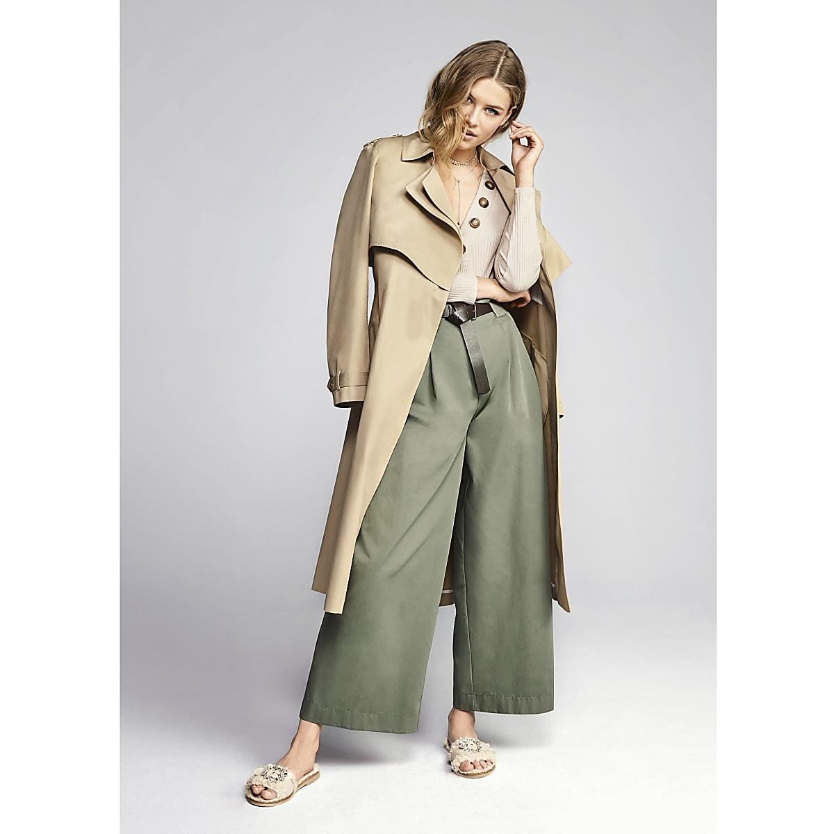 Green paperbag waist wide leg pants