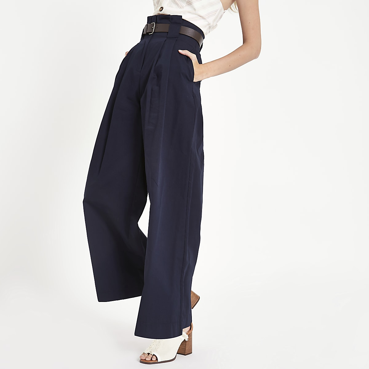 Navy paperbag waist wide leg pants