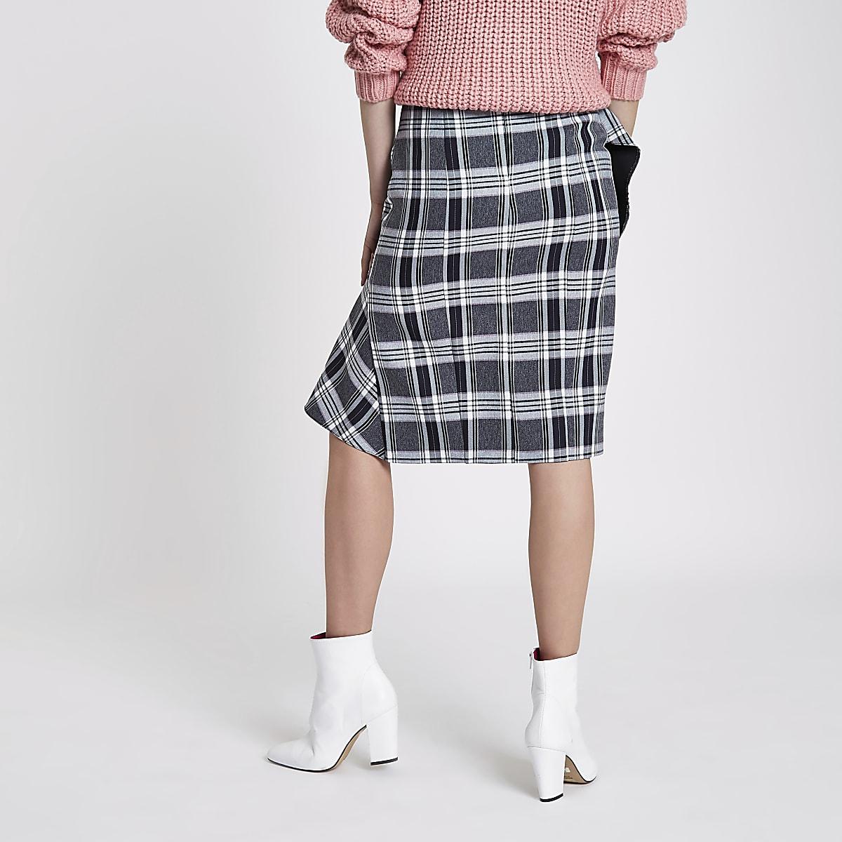 77a7f71278 Navy check asymmetric frill pencil skirt - Midi Skirts - Skirts - women