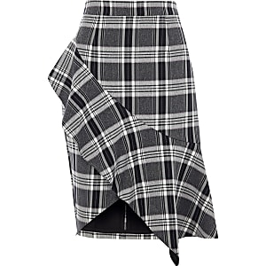 Navy check asymmetric frill pencil skirt