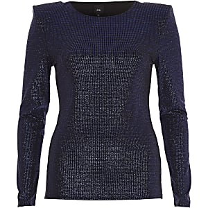 Blue glitter shoulder pad fitted top